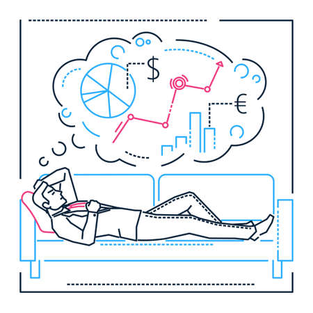 Planning while dreaming - line design style isolated illustration on white background. Metaphorical image of a businessman sleeping on a sofa, thinking of business processes, tasks