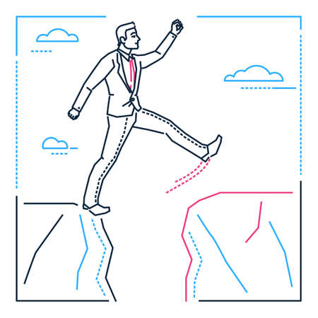 Determined businessman - line design style isolated illustration on white background. Metaphorical image of a young smart man stepping over the gap between two rocks, overcoming difficulties 向量圖像