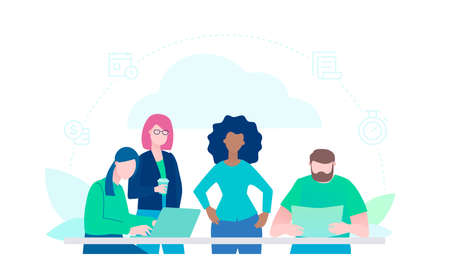 Creative group - flat design style illustration on white background. A colorful composition with international employees working on a project with laptops at the desk. Teamwork, brainstorming concept