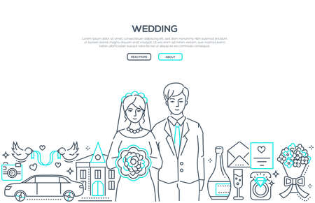 Wedding - line design style banner on white background with place for text. High quality composition with a happy young couple getting married, celebration symbols, rings, flowers, car. Family concept
