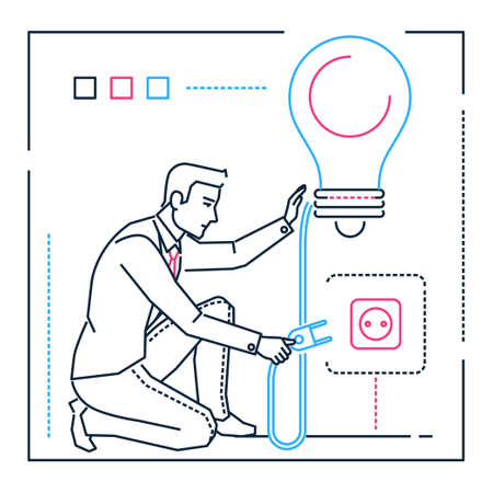 Businessman searching for ideas - line design style illustration