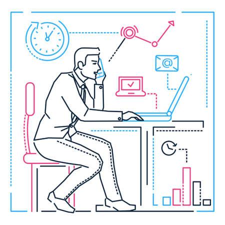 Hombre de negocios en la computadora - Ilustración de estilo de diseño de línea sobre fondo blanco. Imagen de un gerente masculino que tiene mucho que hacer, hablando por teléfono en la oficina. Multitarea, concepto de gestión del tiempo