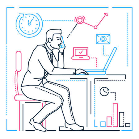 Businessman at the computer - line design style illustration on white background. Image of a male manager having a lot to do, speaking on the phone in the office. Multitasking, time management concept