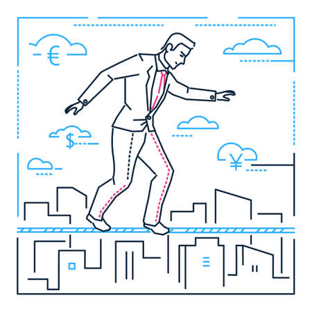 Businessman walking on a cable - line design style illustration on white background. Metaphorical image of a confident manager, employee, ropewalker. Concept of hard work, danger, attention