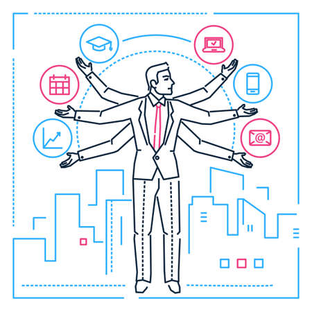Multitasking - line design style illustration on white background. Image of a businessman, manager, employee juggling with tasks. Education, mailing, timetable, computer, smartphone, infographics Stock Illustratie