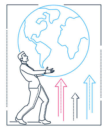 Businessman holding a globe - line design style illustration on white background. Metaphorical image of a young smart man, office worker with a big sphere, Earth. International communication concept
