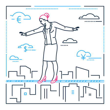 Businesswoman walking on a wire - line design style illustration on white background. Metaphorical image of a confident woman, girl, female, ropewalker. Concept of hard work, danger, attention