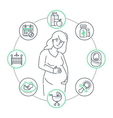 Embarazo - ilustración de estilo de diseño de línea sobre fondo blanco. Composición de alta calidad con una mujer joven que espera un bebé, un conjunto de iconos relacionados con el nacimiento, el carro, el niño pequeño, la comida sana, el calendario Ilustración de vector