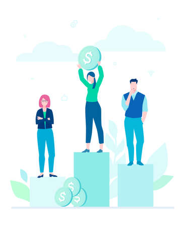 Financial victory - flat design style illustration on white background. A composition with people standing on a pile of coins as on podium. Female worker holding a dollar. Business competition concept