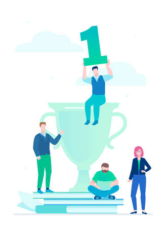 Leadership - flat design style illustration on white background. Metaphorical composition with office workers, businessman sitting on a big prize, holding number one sign. Man working with a laptop