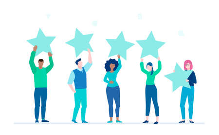 Valutazione dell'azienda - illustrazione colorata in stile design piatto su sfondo bianco. Team internazionale, gruppo di persone che danno quattro stelle a un servizio o un'attività. Revisione del cliente, concetto di feedback
