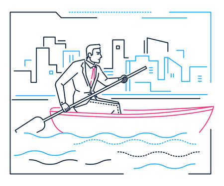 Businessman rowing a boat - line design style illustration on white urban background with silhouettes of city buildings. Metaphorical image of a young hard-working person, progressing a goal