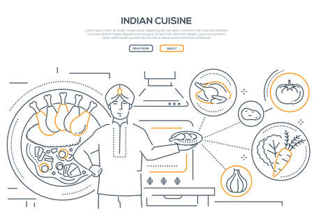 Indian cuisine - line design style banner on white background. High quality composition with a cook holding plate with dish, images of traditional food, chicken, garlic, carrot, tomato