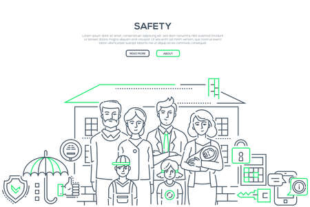 Safety - line design style banner on white background with place for your text. High quality composition with a family, young couple with three small children and parents, apartment, keys, calculator Çizim