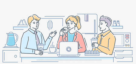 Coffee break - colorful line design style illustration on white background. A composition with business colleagues talking during lunch, eating donuts, drinking at the table in the office kitchen