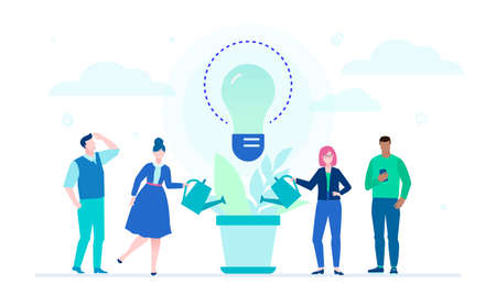 Growing ideas - flat design style illustration on white background. Metaphorical composition with international business team watering the plant, big lightbulb, louds. Creativity and team work concept Illustration