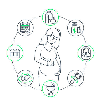 Pregnancy - line design style illustration on white background. High quality composition with a young woman expecting a baby, a set of icons related to birth, cart, toddler, healthy food, calendar