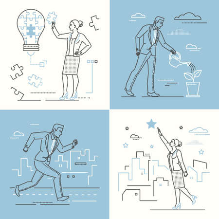 Business concepts - set of line design style illustrations on white and blue background. Four images of confident woman and man. Creativity, career growth, goal setting, motivation, bright idea themes
