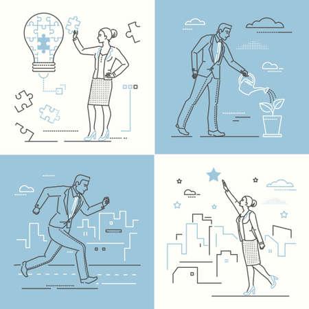 Concetti di business - serie di illustrazioni in stile design di linea su sfondo bianco e blu. Quattro immagini di donna e uomo sicuri. Creatività, crescita di carriera, definizione degli obiettivi, motivazione, temi di idee brillanti