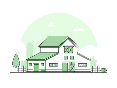 Country life - modern thin line design style vector illustration on white background. Green colored high quality rural landscape with a barn, haystacks, fence, silage tower. Eco farming concept