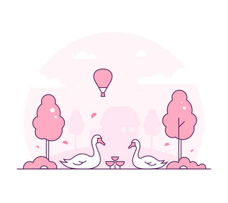 Rural landscape - thin line design style vector illustration. Pink colored high quality composition with two swans, trees, bush, balloon in the sky. Silhouette of a small house on the background