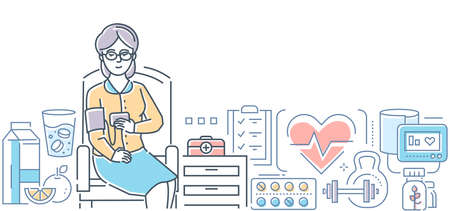 Blood pressure control - modern line design style illustration on white background. A senior woman, patient sitting on the chair making test. Healthy food, pills, first aid kit. Healthcare concept