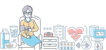 Control de la presión arterial - ilustración de estilo de diseño de línea moderna sobre fondo blanco. Una mujer mayor, paciente sentada en la silla haciendo la prueba. Alimentos saludables, pastillas, botiquín de primeros auxilios. Concepto de salud Ilustración de vector