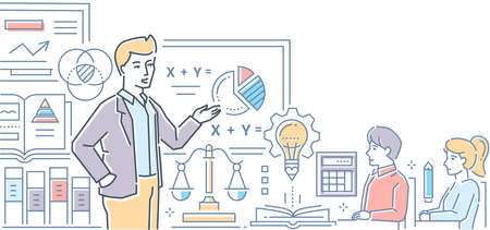 Maths lesson - modern colorful line design style illustration on white background. High quality composition with male teacher standing at the board showing formulas to young students in the classroom
