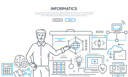 Informatics - modern colorful line design style banner on white background with place for text. A male teacher standing at the board showing formulas. Images of laptop, tablet, folders, brain