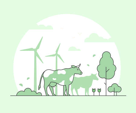 Eco farming - thin line design style vector illustration. Green colored high quality composition with a cow, tree, flowers, wind power generators. Country landscape for your banners, presentations