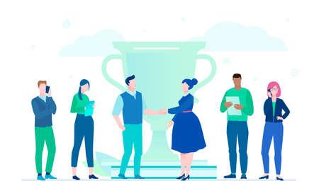 Geschäftssieg - flache Designartillustration auf weißem Hintergrund. Eine Komposition mit internationaler Mannschaft, die neben einem großen Pokal steht. Mann und Frau, die sich die Hände schütteln. Produktives Teamwork-Konzept