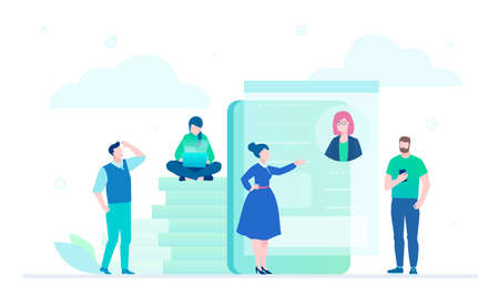 Workflow - flat design style illustration on white background. A composition with office workers, managers, business people working at laptops, chatting with colleagues, pile of coins, big smartphone