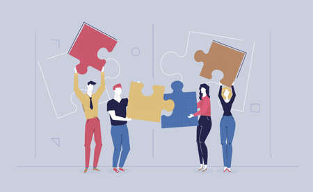 Teambuilding - modern flat design style colorful illustration on grey background. High quality composition with cute characters, office workers, colleagues, creative business people doing a puzzle Ilustração