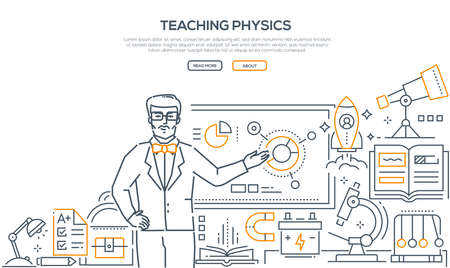 Teaching Physics - colorful line design style banner on white background with place for text. A male teacher standing at the board showing infographic charts. Workplace, microscope, telescope, battery