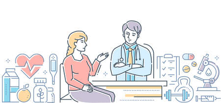 Medical center - modern line design style banner on white background. A woman, patient consulting with a doctor, therapist. Images of microscope, syringe. Healthcare, preventive examination concept