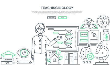 Enseignement de la biologie - bannière de style design ligne colorée sur fond blanc avec place pour le texte. Composition avec une enseignante debout au tableau. Images de microscope, flacons, livres, minuterie, pipette