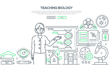 Teaching biology - colorful line design style banner on white background with place for text. Composition with female teacher standing at the board. Images of microscope, flasks, books, timer, pipette
