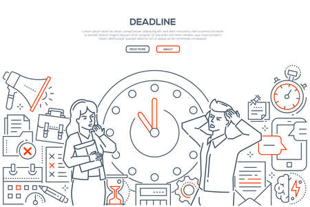 Deadline - line design style vector web banner on white background with copy space for text. Stressed male, female office workers standing next to big clock. Images of megaphone, hourglass, timer