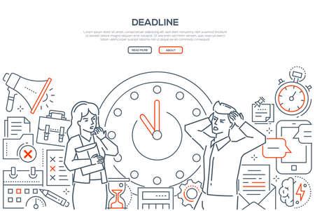 Frist - Liniendesign-Stil-Vektor-Web-Banner auf weißem Hintergrund mit Kopienraum für Text. Gestresste männliche, weibliche Büroangestellte, die neben einer großen Uhr stehen. Bilder von Megaphon, Sanduhr, Timer