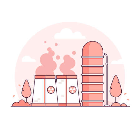 Nuclear power plant - thin line design style vector illustration on white background. Red colored high quality composition with a factory, pipes, smoke from chimney, tower, tree. Industrial concept Illustration