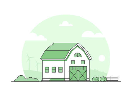 Country life - modern thin line design style vector illustration on white background. Green colored high quality rural landscape with a barn, haystacks, fence, windmills. Eco farming concept