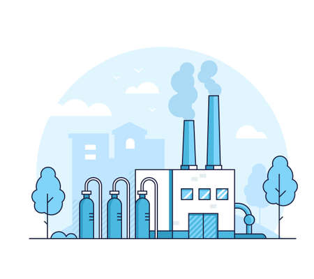 Factory - modern thin line design style vector illustration on white background. Blue colored composition with a plant, pipes, smoke from chimney, tree, silhouette of city building. Industrial concept Archivio Fotografico - 110220837