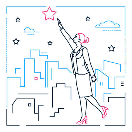 Businesswoman reaching out the star - line design style illustration on white urban background. Metaphorical linear composition of a woman, girl, female trying to touch the sky, pursuing her goal