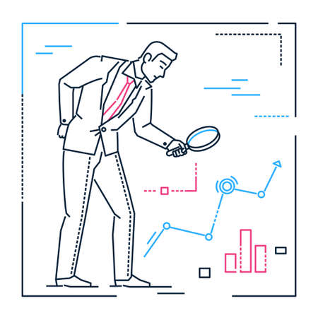 Businessman with a magnifying glass - line design style illustration on white background. Metaphorical image of a man with lens searching for solutions or ideas analyzing infographic charts, results Stockfoto
