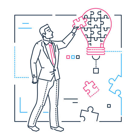 Businessman doing puzzle - line design style isolated illustration on white background. Metaphorical image of a lamp. Man is putting pieces together, looking for ideas. Problem-solving concept Banco de Imagens - 107868349