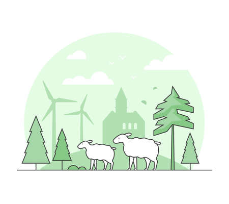Eco farming - thin line design style vector illustration. Green colored high quality composition with sheep, tree, wind power generators, silhouette of church on the background. Country landscape Illustration