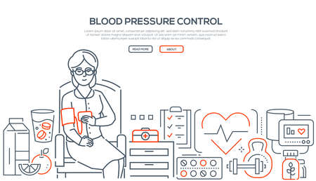 Blood pressure control - modern line design style banner on white background. A senior woman, patient sitting on the chair making test. Images of healthy food, pills, first aid kit. Healthcare concept Illustration
