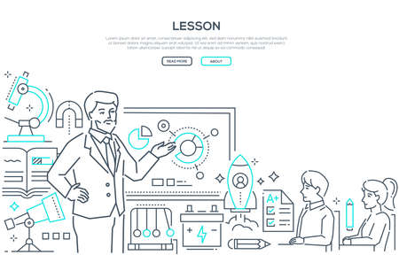 Physics Lesson - modern line design style banner on white background with place for text. A male teacher at the board showing infographic charts to students in classroom with microscope, telescope Vector Illustratie