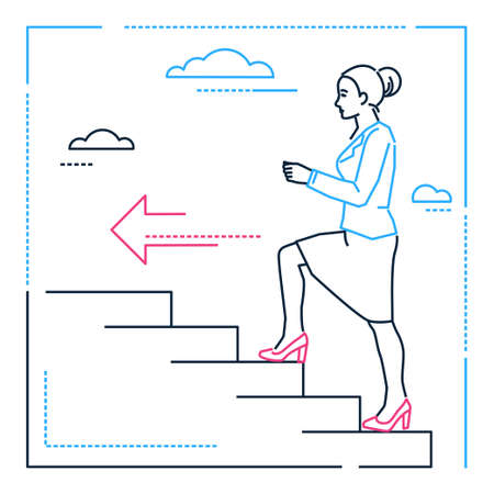 Businesswoman climbing a ladder - line design style illustration on white background. Linear image of a woman, girl, female walking upstairs, pursuing her goal, dreams. Personal development theme Ilustração
