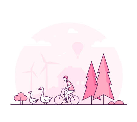 Eco lifestyle - thin line design style vector illustration. Pink colored high quality composition with geese, tree, wind power generator, silhouette of house on the background. Country, farm landscape